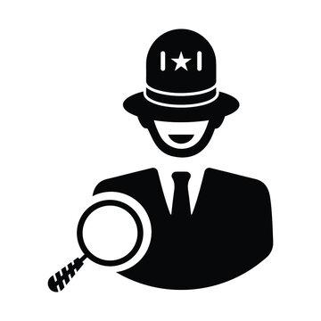 Search police, White hat seo icon. Black vector graphics.