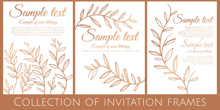 collection of white and gold invitation with simple branches