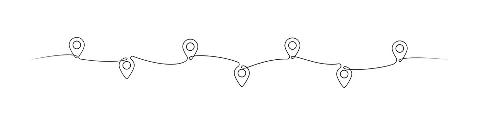 Location pointers one line drawing. Continuous one line pin pointers vector illustration. Gps navigation pointers. Line art. Travel concept. Location, pin, pointer icon symbol one line art design.