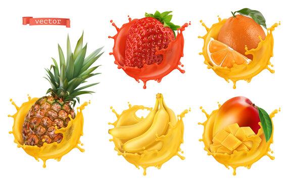 Pineapple, strawberry, orange, banana, mango juice. Fresh fruits and splashes, 3d realistic vector icon set