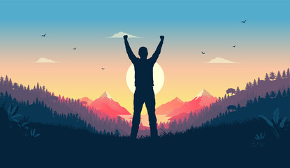 Personal victory and winning - Person standing in landscape watching sunrise celebrating triumph alone. Feel good concept, vector illustration. - fototapety na wymiar