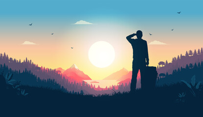 Obraz Hiker watching sunrise from hill - Man looking at beautiful view over warm landscape, enjoying the start of a new day. Happiness, positive and contentment concept. Vector illustration. - fototapety do salonu