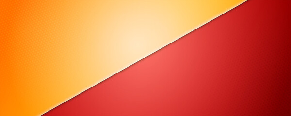 Yellow-Red background divided by diagonal. Vector 3d illustration. Background into two colors with halftone dots. - fototapety na wymiar