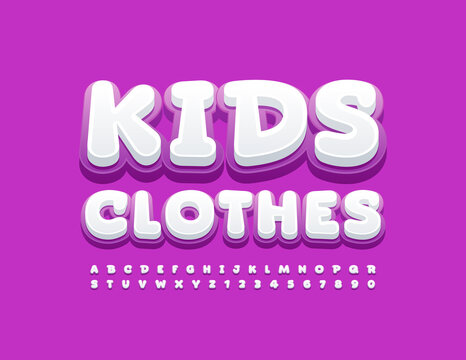 Vector stylish Emblem Kids Clothes. Cute Bright Font. Funny Alphabet Letters and Numbers.
