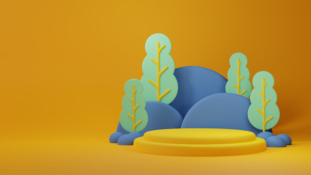 3D COLORFUL CLAY PODIUM STYLE WITH TREE AND MOUNTAIN LANDSCAPE