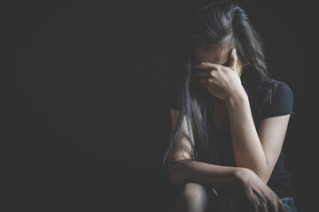 Fototapeta Young depressed woman, domestic violence and rape. stop abusing violence, human trafficking, stop violence against women, Human is not a product. Stop women abuse, Human rights violations. obraz