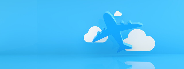 Fototapeta airplane with clouds over blue background, avia travel concept, 3d rendering, panoramic mock-up  obraz