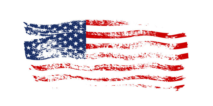 Grunge waving American flag isolated on white background. Scretched USA national symbol. Vector design element.