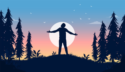 Fototapeta Carefree life - Man standing in front of sun with hands out, enjoying life and freedom. Happiness in nature concept, vector illustration. obraz