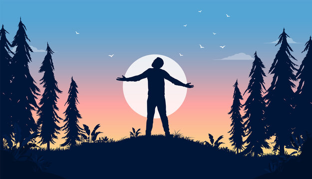 Carefree life - Man standing in front of sun with hands out, enjoying life and freedom. Happiness in nature concept, vector illustration.