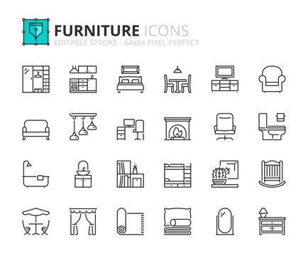 Simple set of outline icons about furniture