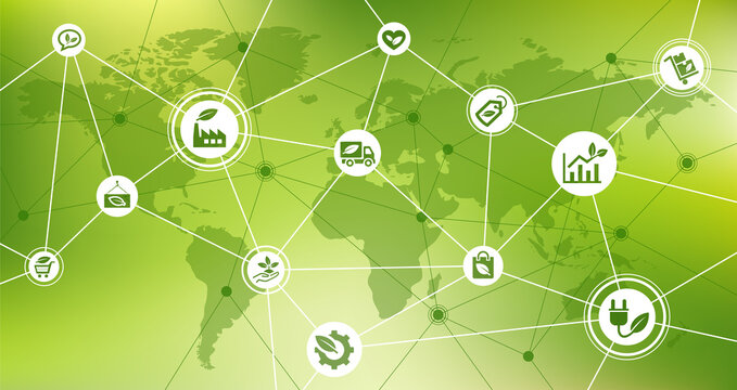 Sustainable company vector illustration. Background or banner with world map related to eco friendly business, global environmentally friendly organization, green product, sustainability, no pollution