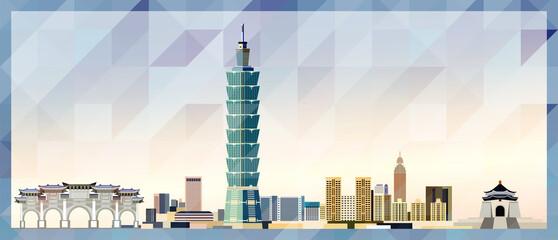 Fototapeta Taipei skyline vector colorful poster on beautiful triangular texture background obraz