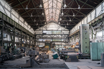 Old abandoned factory with equipment