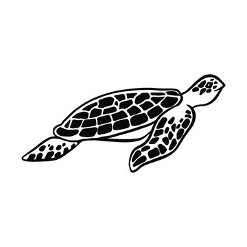 Swimming sea turtle. File for cutting and printing