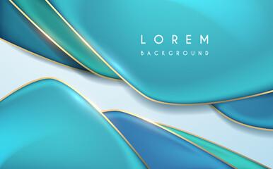 Abstract blue and gold geometric background - fototapety na wymiar