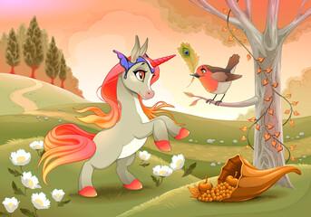 Unicorn and robin. Vector illustration for abundance.