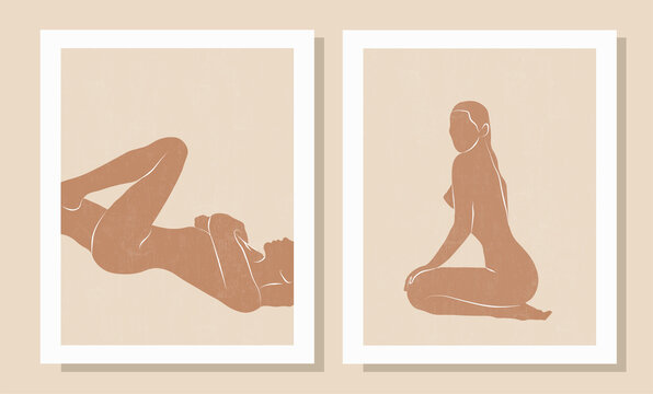 Set of trendy minimal abstract modern posters. Female silhouettes, pastel colors. Feminine concept. Hand painted design for wall decor, print, card, wallpaper, background. Vector illustration.