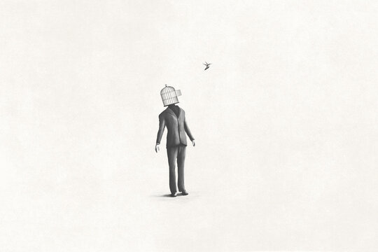 illustration of surreal man with open birdcage over his head and little bird flying free, surreal abstract concept