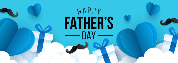Obraz Father's day sale banner template for social media advertising, invitation or poster design with paper art heart shape and gift box background. - fototapety do salonu