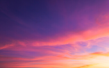 sunset sky in the evening background