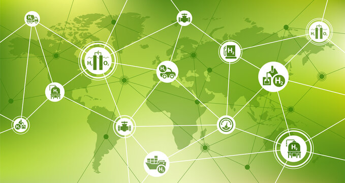 Hydrogen economy vector. Concept with world map and icons related to worldwide hydrogen use as fuel, in industrial processes, global hydrogen storage and transport, renewable / green energy.