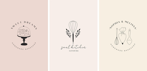 Fototapeta Simple and elegant homemade bakery logo collection. Hand drawn modern style logos, pastry and bread shop vector and label design obraz