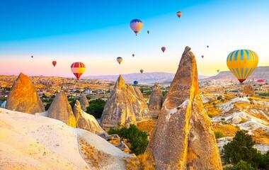 Fototapeta Sunrise view of unusual rocky landscape in Cappadocia, Turkey obraz
