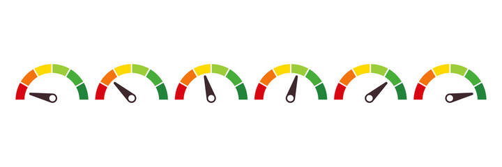 Speedometer, tachometer, indicator icons. Performance measurement. White background. Vector illustration - fototapety na wymiar