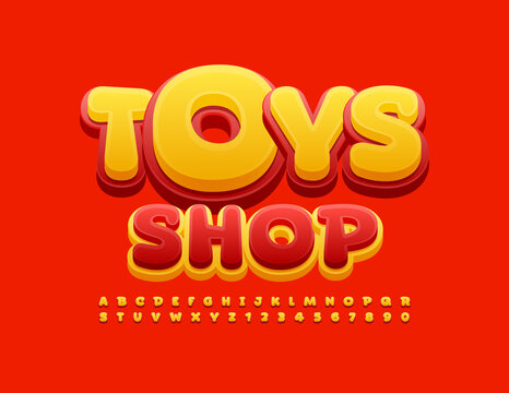 Vector playful logo Toys Shop. Red and Yellow modern Font. Bright Alphabet Letters and Numbers set