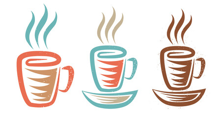 Obraz Vector illustration of a cup with coffee or tea in retro style. Vintage logo of hot drink for cafe. - fototapety do salonu