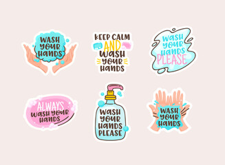 Fototapeta Wash your Hands Cartoon Stickers with Doodle Lettering, Clean Human Palms and Soap Bar with Bottle and Water Spot obraz