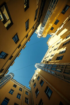 View of typical courtyard structure shapes in St. Petersburg, Russia.