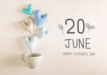 Obraz Father's Day message with blue heart cushions - fototapety do salonu