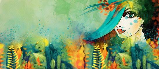 Fototapeta Woman in the secret garden. Watercolor decorative background. Design element obraz