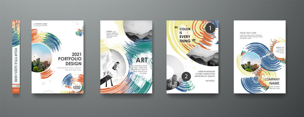 Fototapeta Portfolio art design vector set. Abstract oil brush shape on cover book presentation. Watercolor paint brochure layout and modern report business flyers poster template. obraz