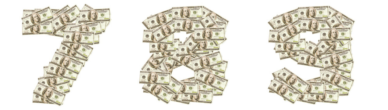 Numbers 7, 8, 9 made of dollars