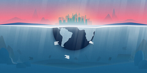 Obraz World ocean pollution and climate change concept.Plastic waste in the ocean,Underwater sea scene.Environment conservation resource sustainable. - fototapety do salonu