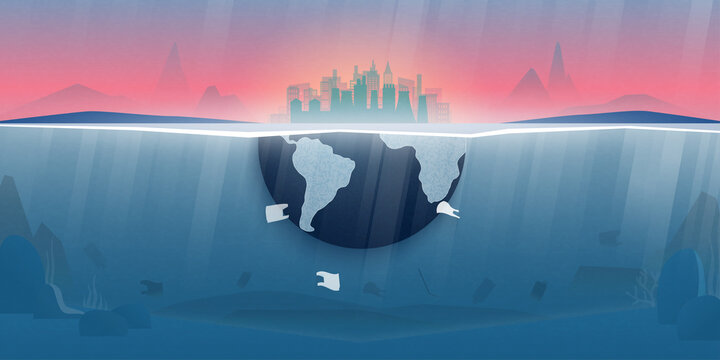 World ocean pollution and climate change concept.Plastic waste in the ocean,Underwater sea scene.Environment conservation resource sustainable.
