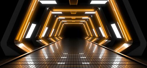 Fototapeta Sci Fy neon lamps in a dark corridor. Reflections on the floor and walls. 3d rendering image. obraz