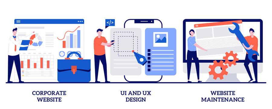 Corporate website, UI and UX design, website maintenance concept with tiny people. Web development vector illustration set. Graphic design service, mobile app, user interface, support metaphor