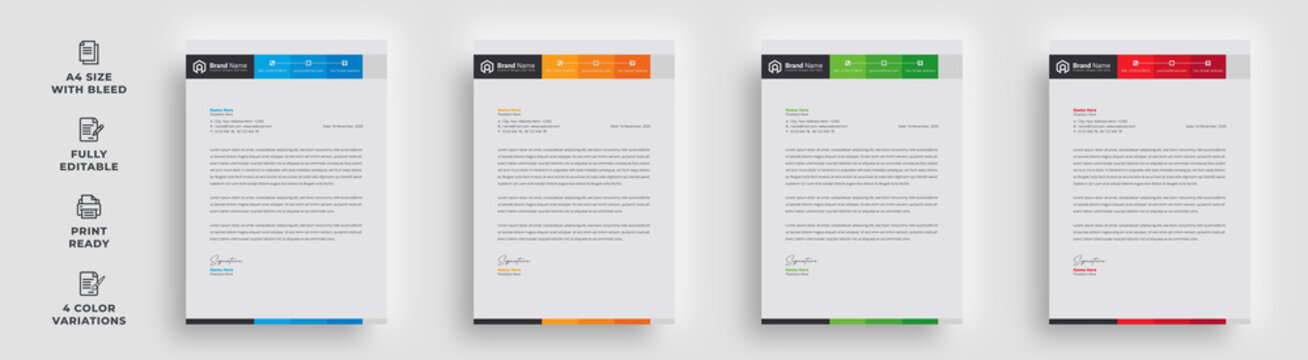 letterhead flyer business corporate professional trendy unique official newest abstract newsletter template design with logo