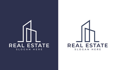 Obraz Creative building structure logo real estate, Line buildings logo, building properties logo design vector - fototapety do salonu