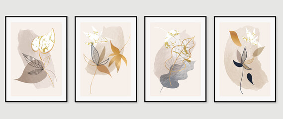 Topical leaves abstract gold color art background vector. Wall arts design with earth tone and watercolor brush texture.