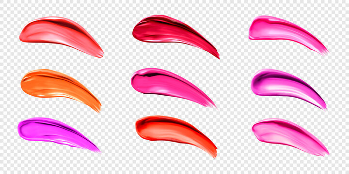 Lipstick smears, swatches of liquid lip gloss for makeup palette. Vector realistic mockup of bright red, orange and pink smudges of female cosmetic isolated on transparent background