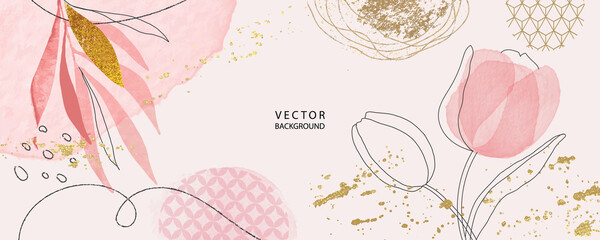minimal Japanese background in pink flowers and tropical summer leaf with golden metallic texture gallery wall art vector