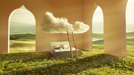 Fototapeta garden cloud bed surreal 3d rendering obraz