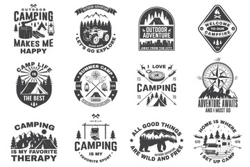 Fototapeta Set of camping badges. Vector. Concept for shirt or logo, print, stamp or tee. Vintage typography design with quad bike, tent, mountain, camper trailer and forest silhouette. obraz