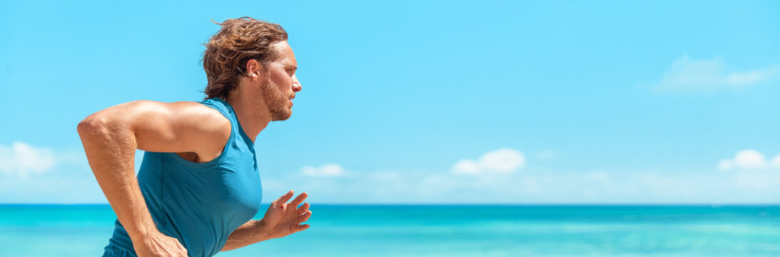 Runner man athlete running on blue ocean and sky banner landscape . Sport active fitness lifestyle panoramic background. Beach run guy profile portrait.