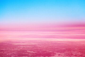 Blue sky, pink red clouds background, colorful sunrise, sunset landscape, pink cosmic planet...